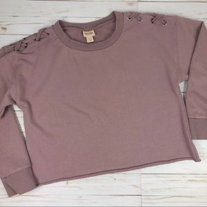 Mossimo Cropped Crewneck Sweatshirt Braided Purple